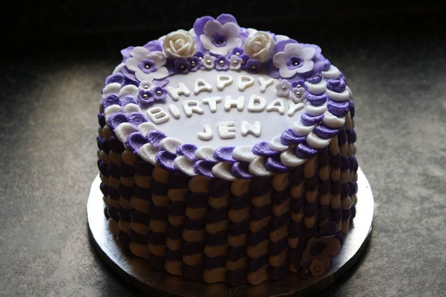 Purple And White Petal Cakefour Layers Inside With Chocolate And Vanilla Alternating Iced With Almond Butter Creamtop Of The Cake Ma on Cake Central