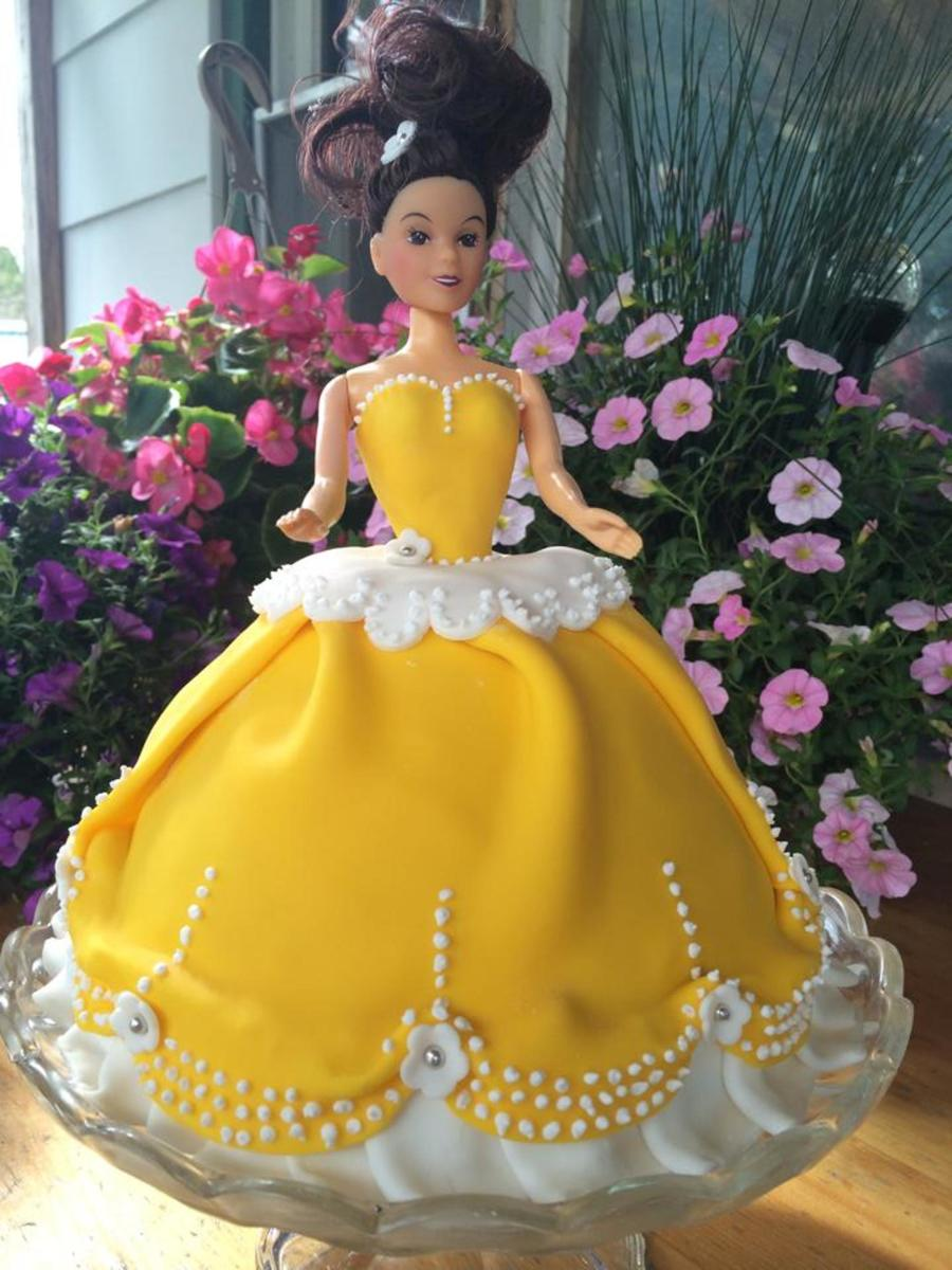First Attempt At A Princess Barbie Cake Dress Is Draped In Fondant