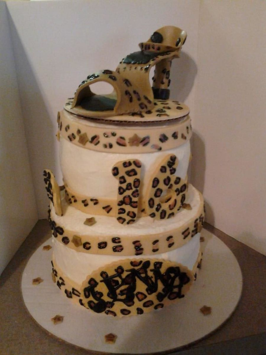 Sweet 16 Shoe Cake, 3D, Cheetah Print on Cake Central