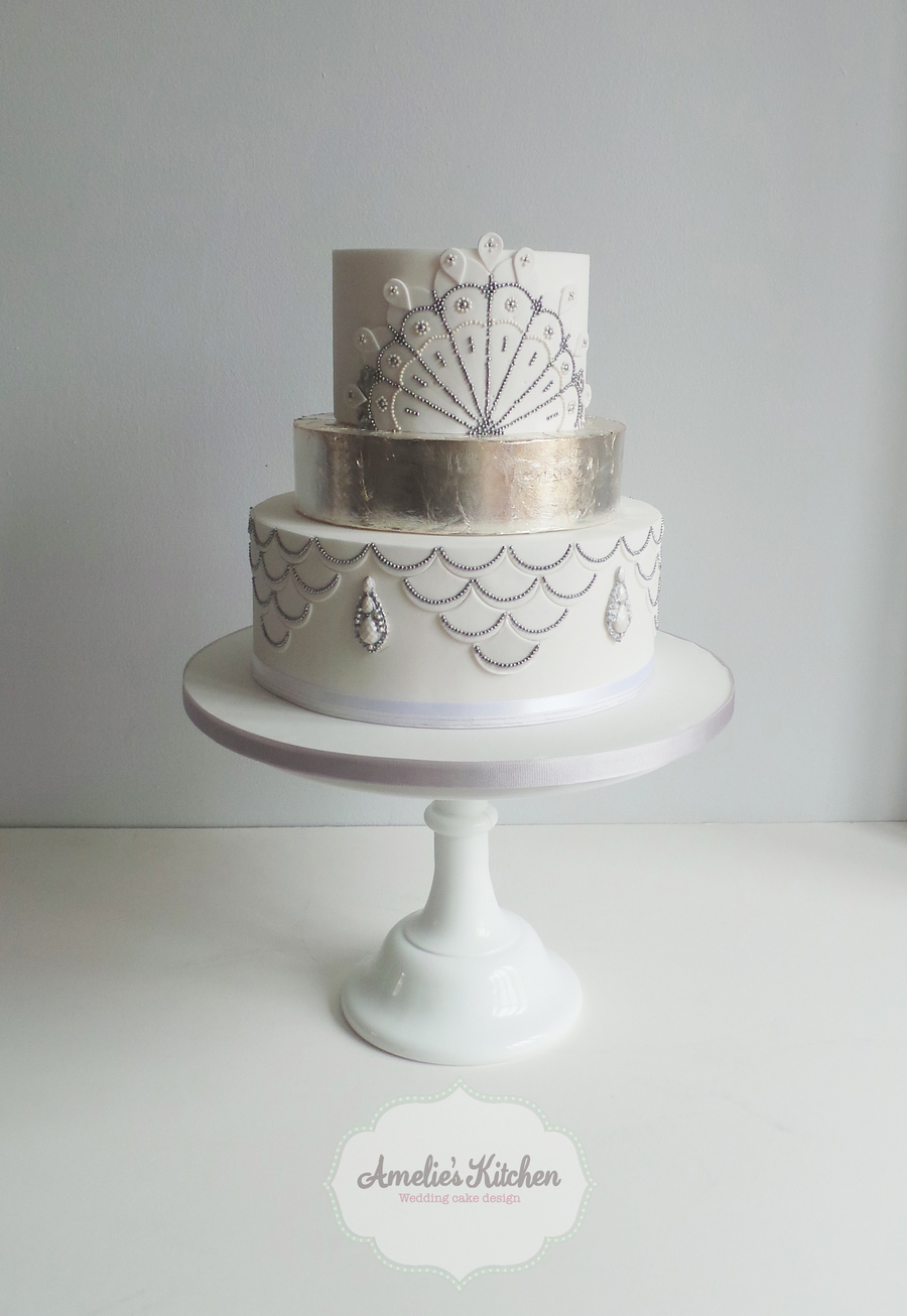 1920\'s White And Silver Wedding Cake - CakeCentral.com