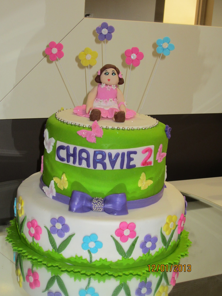 I Made This Cake Today For A Girl Who Loves Dolls And Butterflies on Cake Central