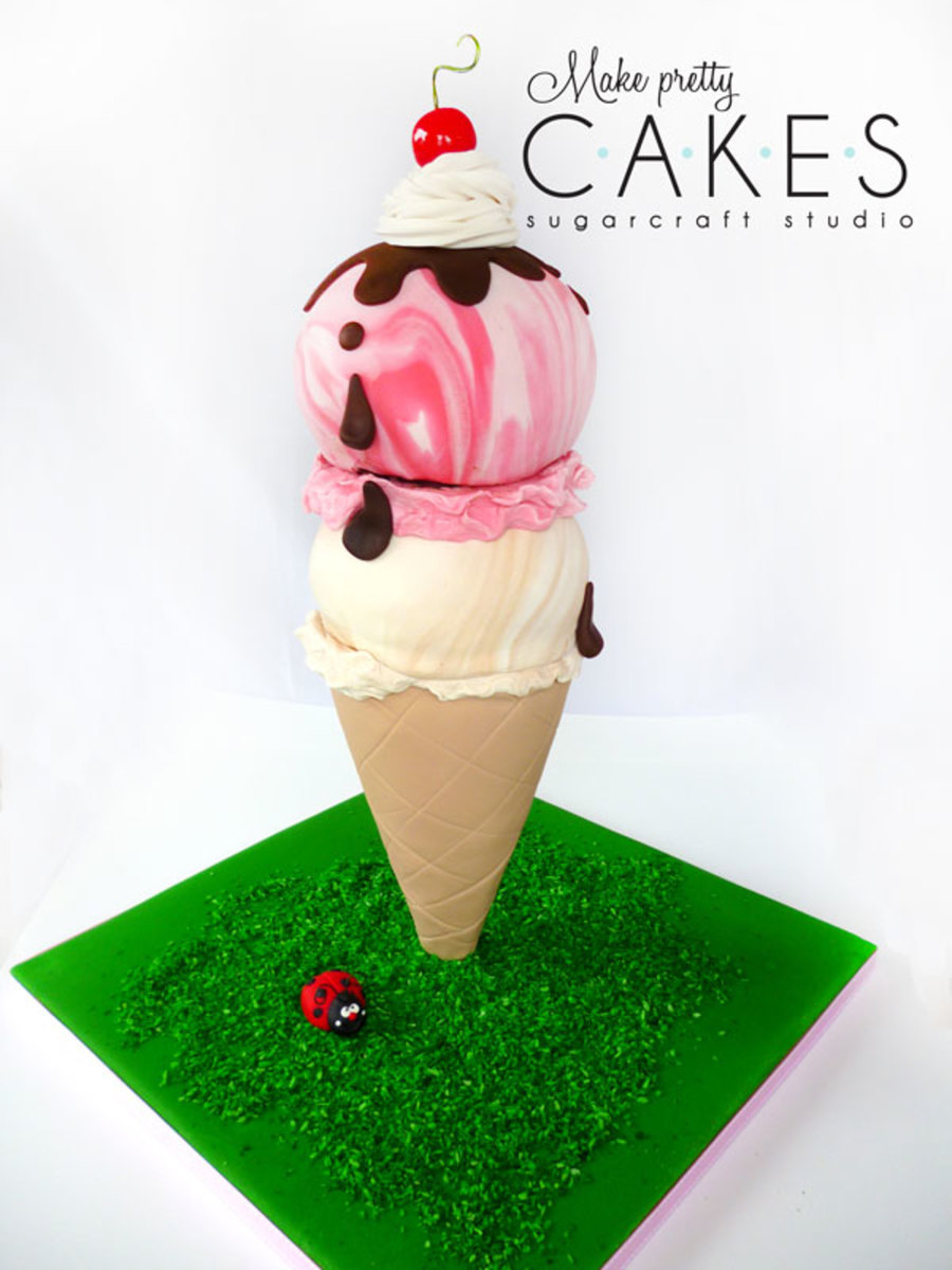 3d Ice Cream Cone Cake Two Scoops Cakecentral Com