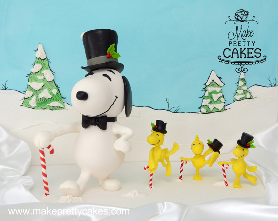 Snoopy And Woodstock Christmas.3d Snoopy And Woodstock Christmas Cakes Dancing In The Snow