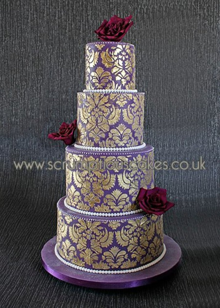Purple & Gold Damask Wedding Cake - CakeCentral.com