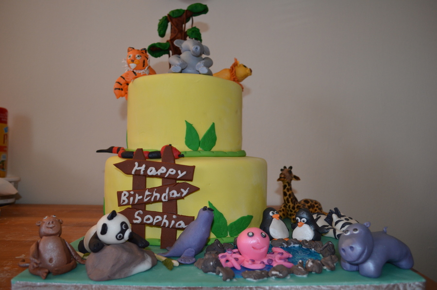 Birthday Cake For A 3 Year Old Girl All Animals Are Handmade With