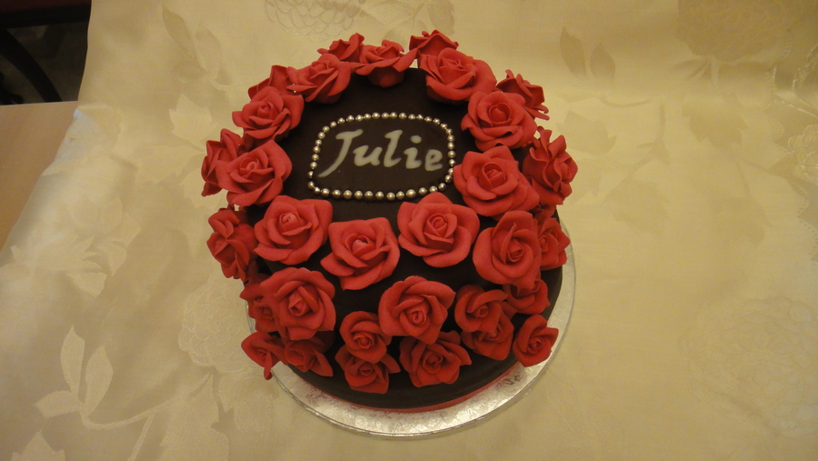 Chocolate Cake With Chocolate Mousse Filling 50 Handmade Gumpaste Roses on Cake Central