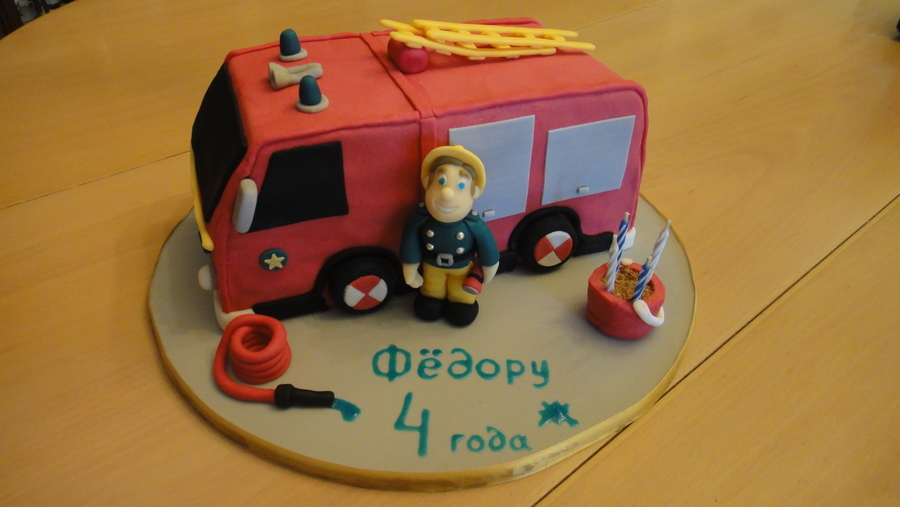 Birthday Cake Was Made For Four Years Old Boy Fireman Sam Is His Favorite Character On