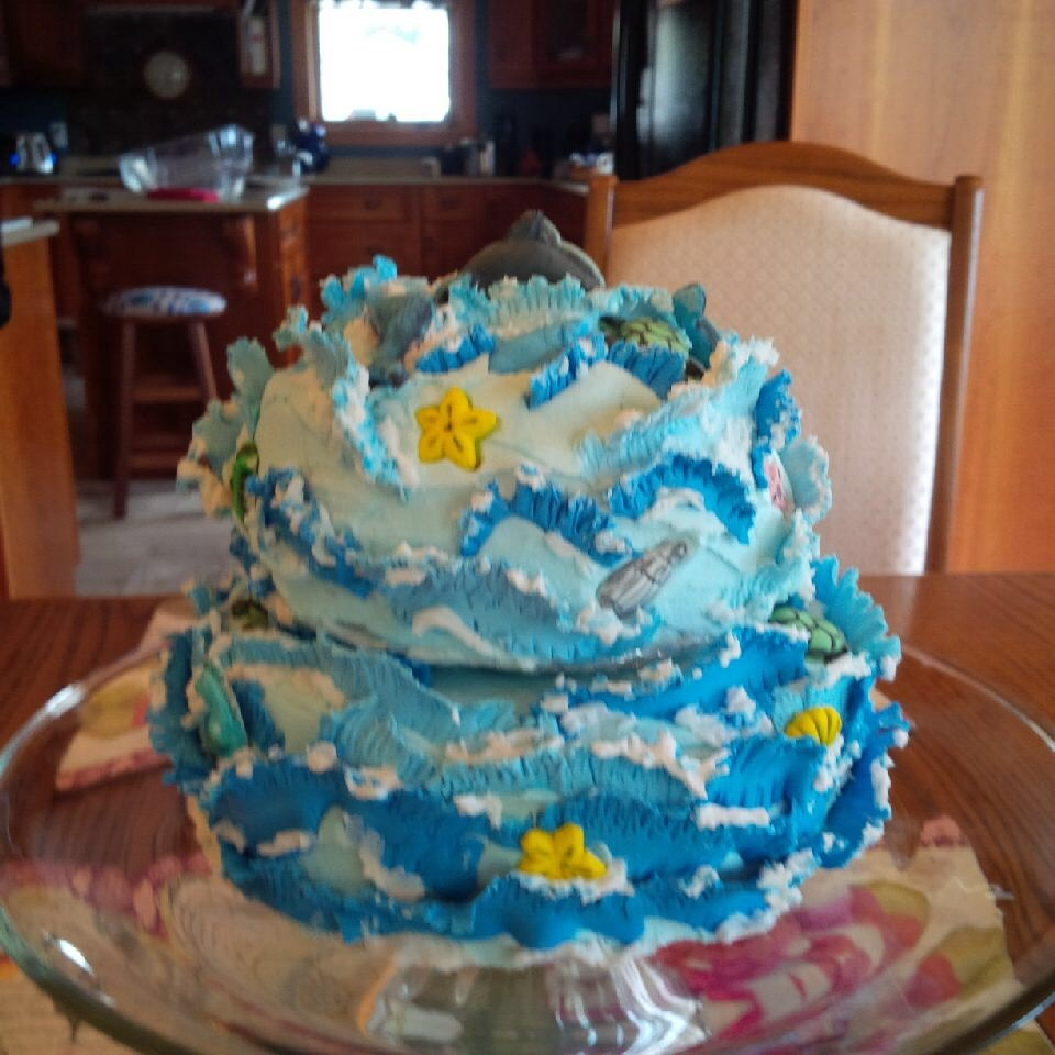 Seascape Birthday Cake -Modelling Chocolate Waves And Gum Paste Water Creatures
