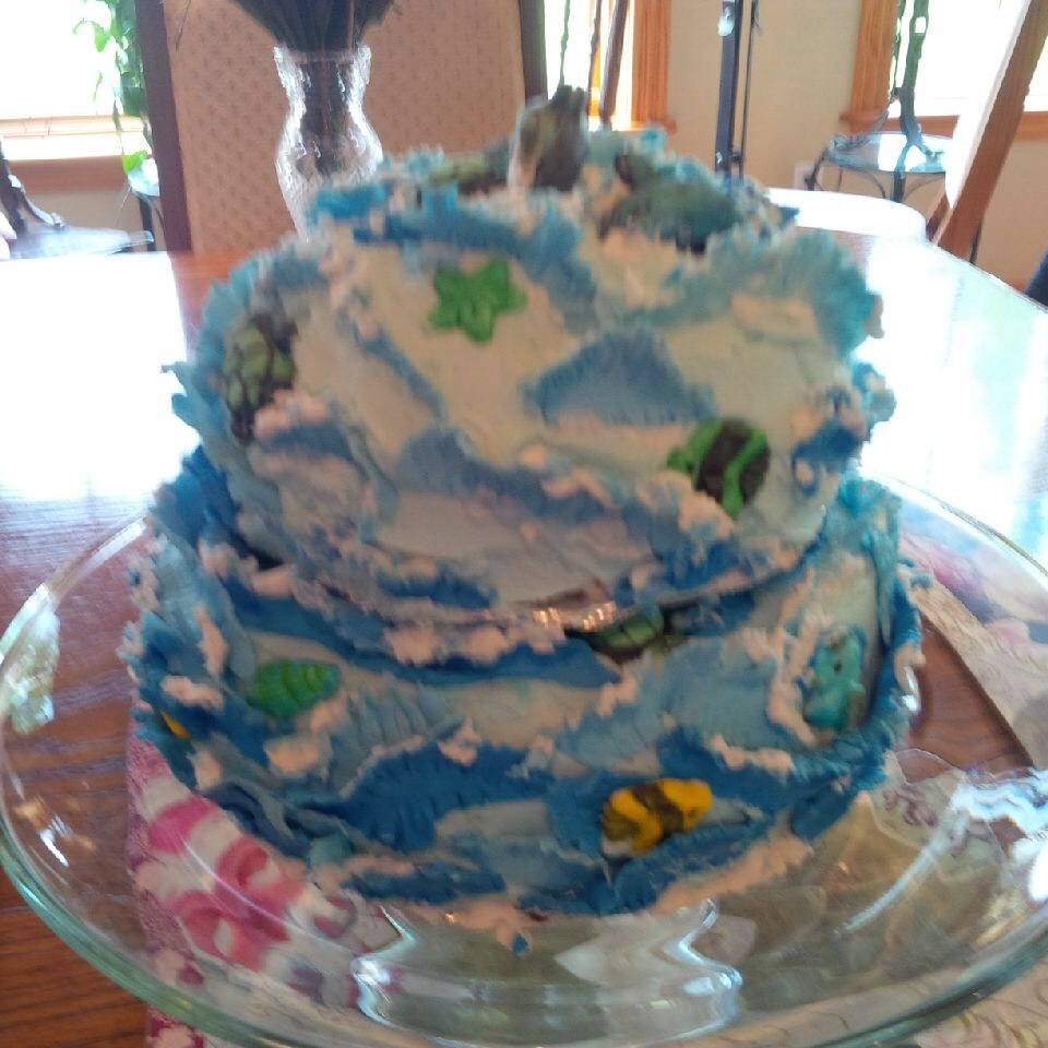 Seascape Birthday Cake -Modelling Chocolate Waves And Gum ...