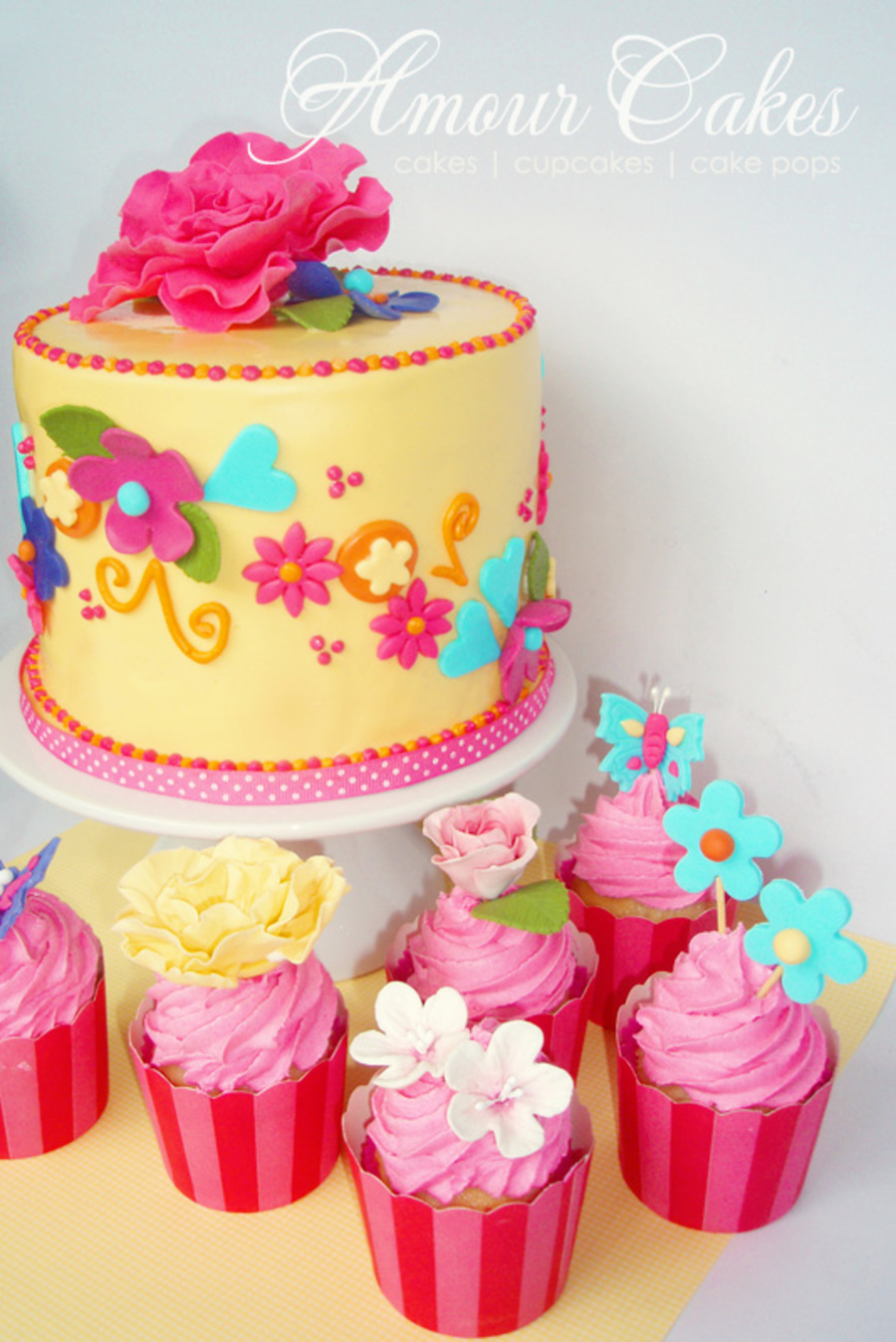 Pretty Flowers Girls Themed Cake And Cupcakes Cakecentral