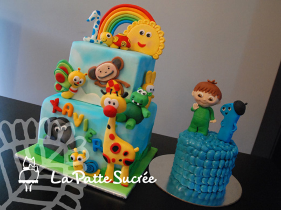 Baby Tv Themed Cake For His First Birthday Gumpaste And Modeling