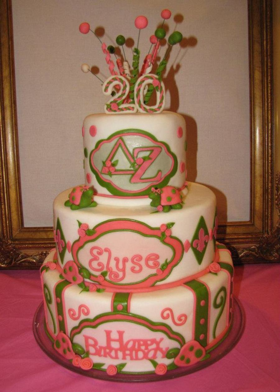 Delta Zeta Birthday Cake Pink And Green With Turtles on Cake Central