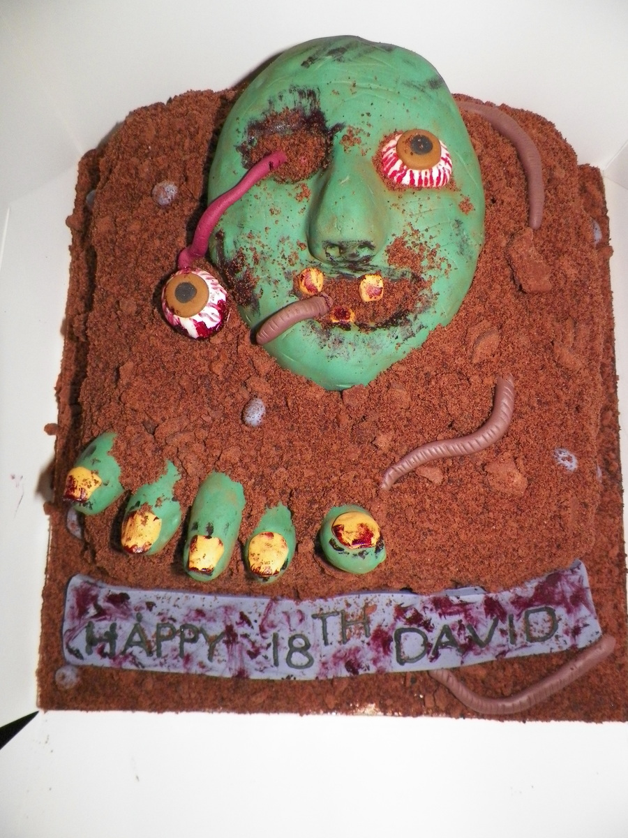 My Version Of The Zombie Cake Ive Seen Floating Around Online Cake Is Chocolate Sponge Chocolate Buttercream And Ganache Covered In Brow on Cake Central