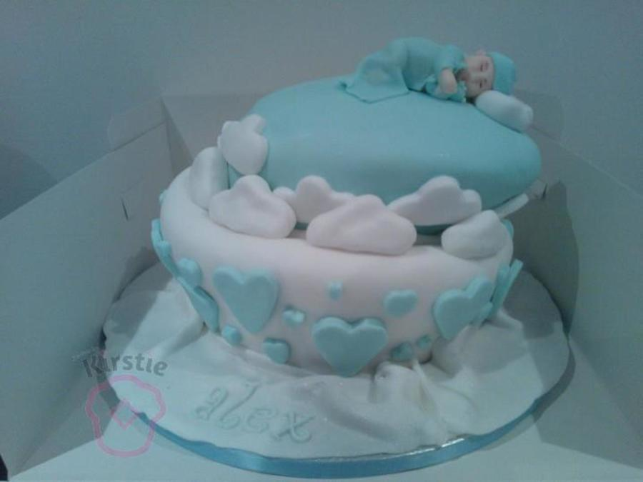 Christening Cake In Blue And White Baby Is Hand Made No Mold I Am Just A Hobby Baker X on Cake Central