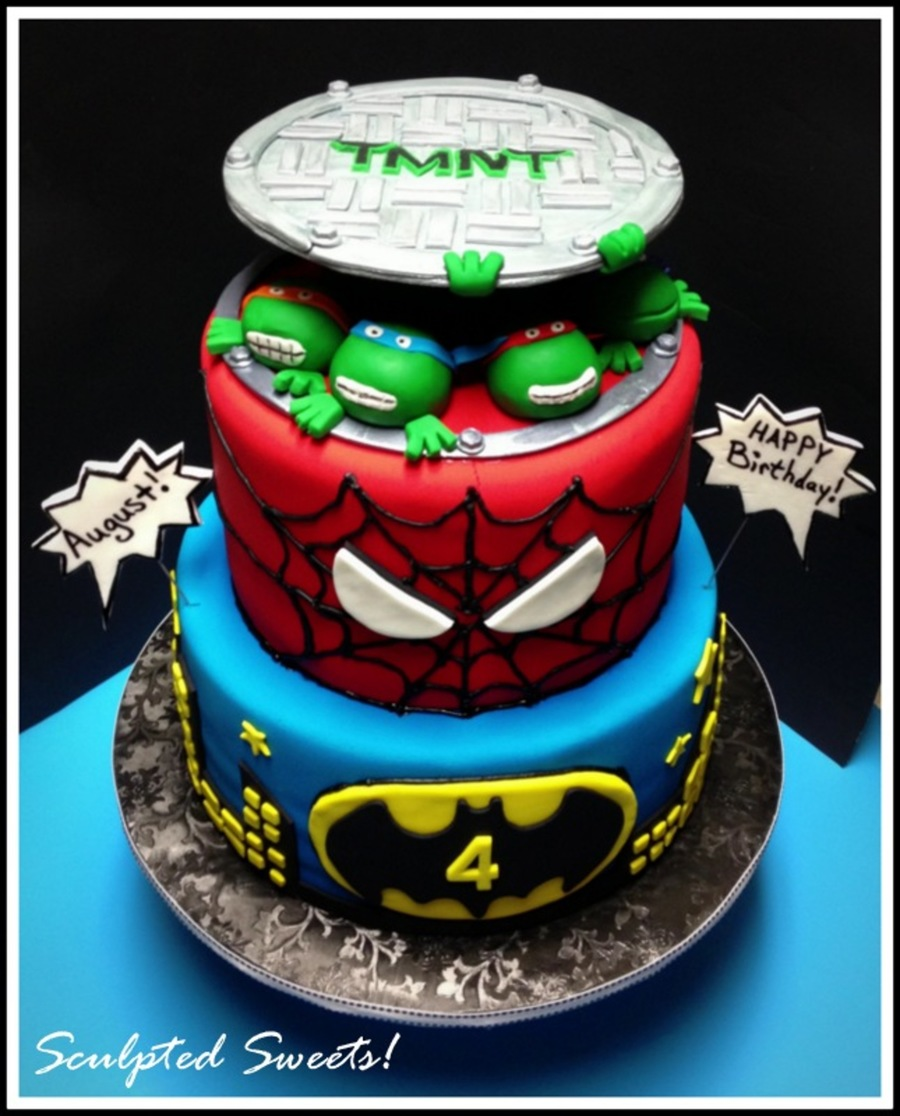 Super Heros Teenage Mutant Ninja Turtles Spiderman And Batman Gumpaste Sewer Top Fondant Turtles And Fondant Detailing on Cake Central
