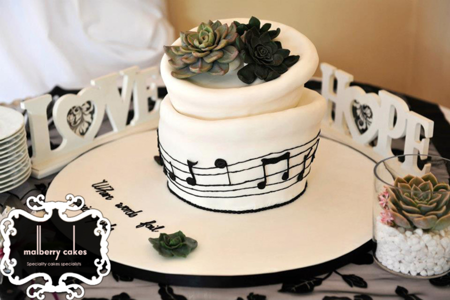 Echeveria And Music Themed Wedding Cake Cakecentralcom