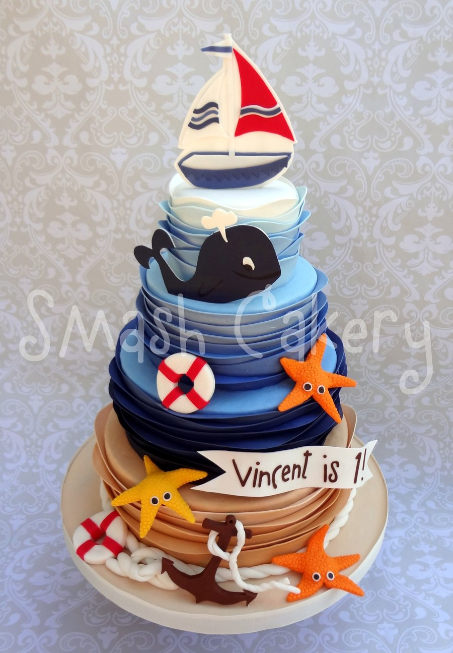 Miraculous Nautical First Birthday Cake Cakecentral Com Funny Birthday Cards Online Inifodamsfinfo