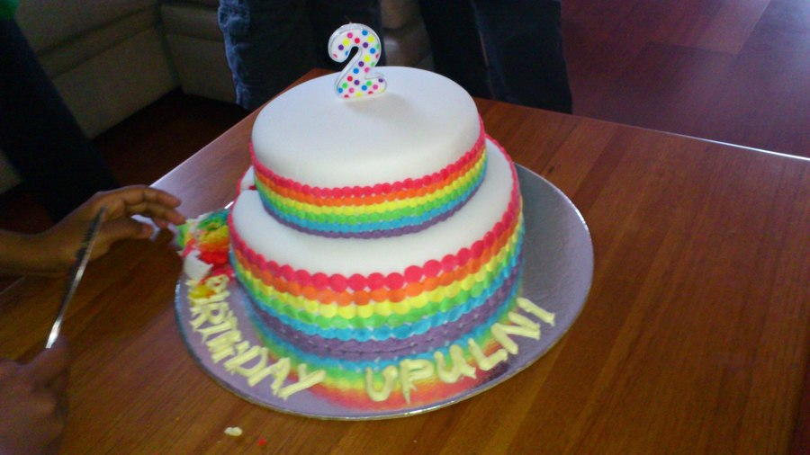 A Rainbow Cake Both Top And Bottom Tiers Have Six Layers Of Cake In Rainbow Colours The Base Is 10 And Top Is 7  on Cake Central
