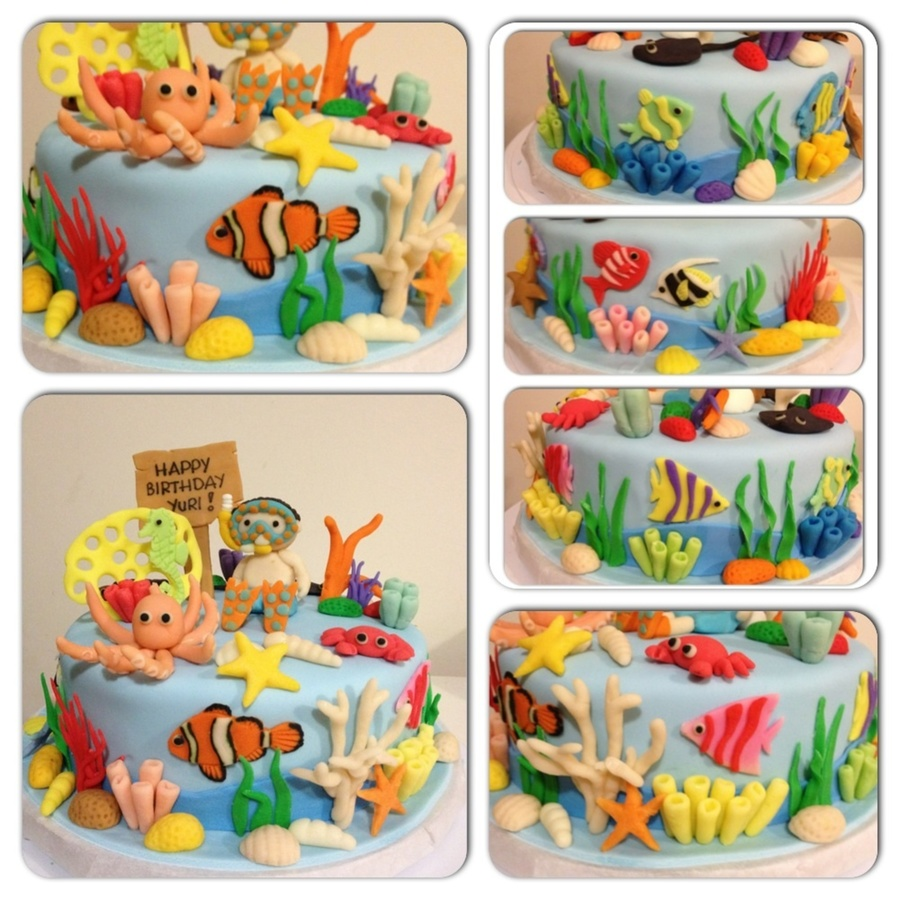 I Made This For My Sons 2Nd Bday Last Year Because He Loves The Baby Einstein Neptunes Ocean Dvd The Baby Diver Was My First Attempt At F on Cake Central