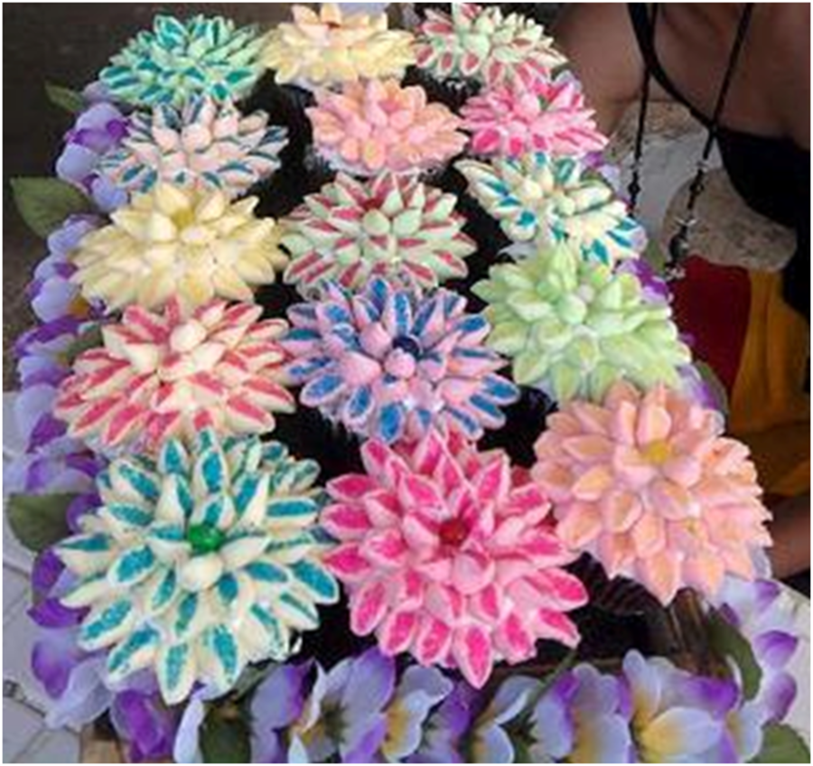 Basket Of Assorted Flower Cupcakes on Cake Central