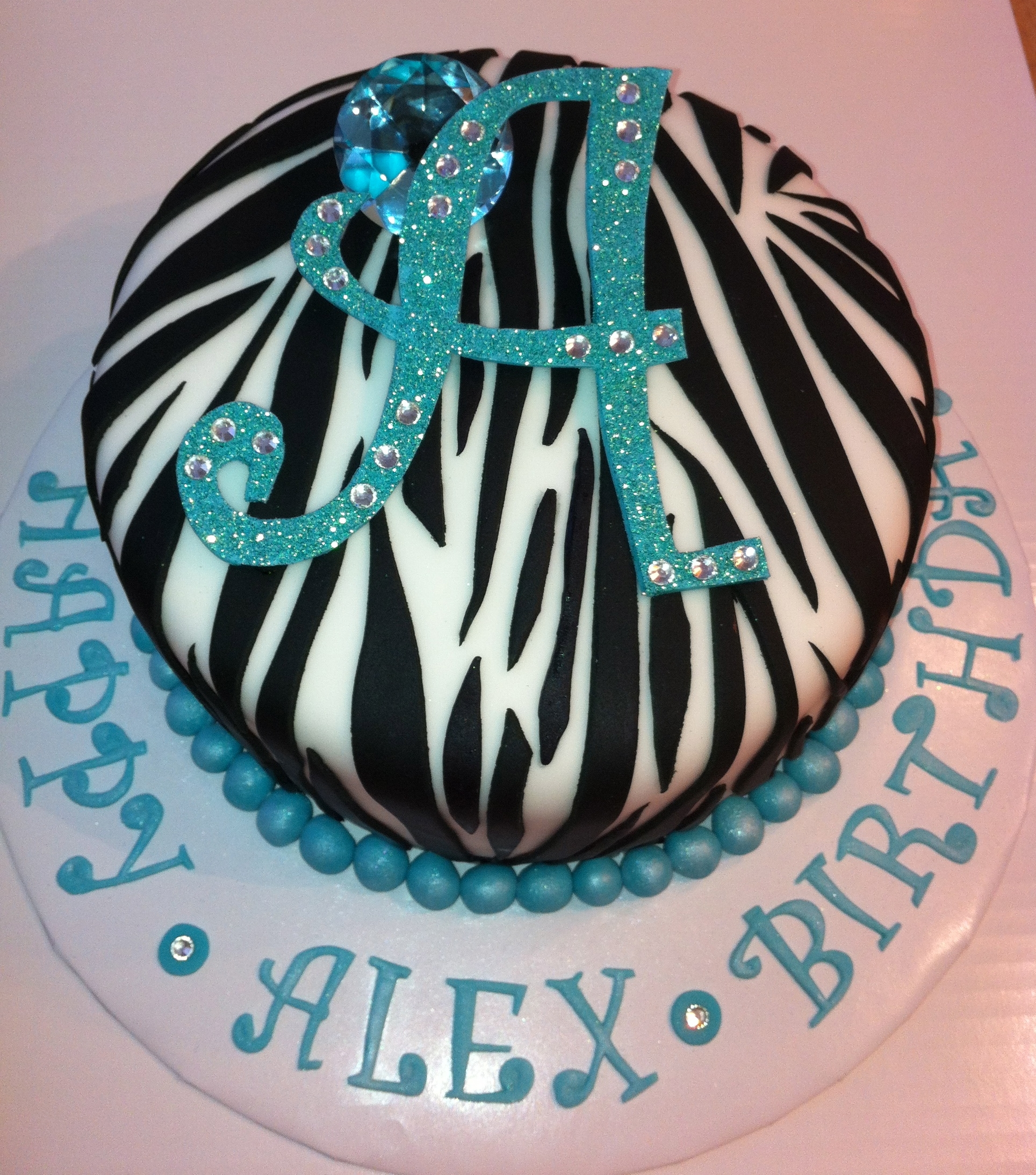 Purple Zebra Bling Cake