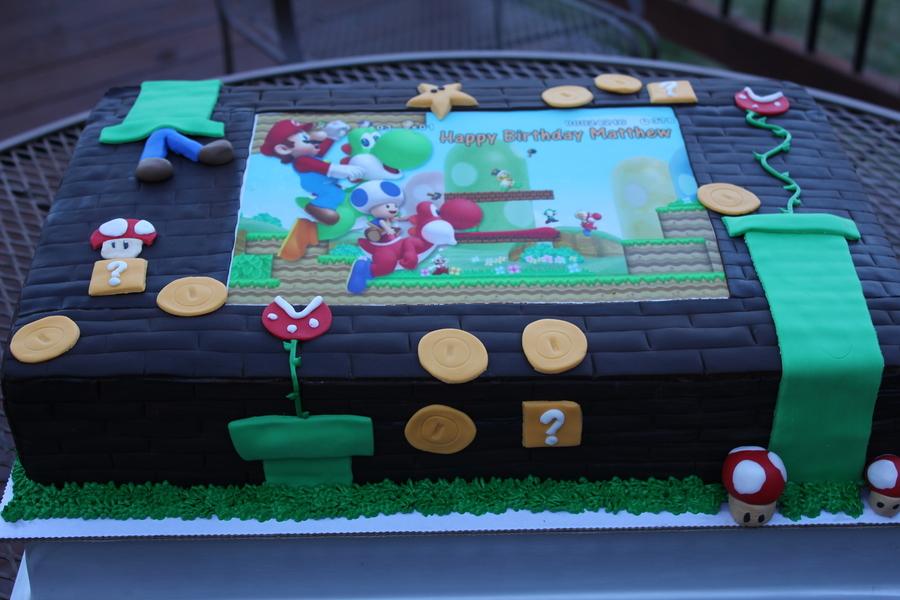 Pleasant Super Mario Birthday Cake 12X18 Chocolate Sheet Cake Cakecentral Com Funny Birthday Cards Online Fluifree Goldxyz