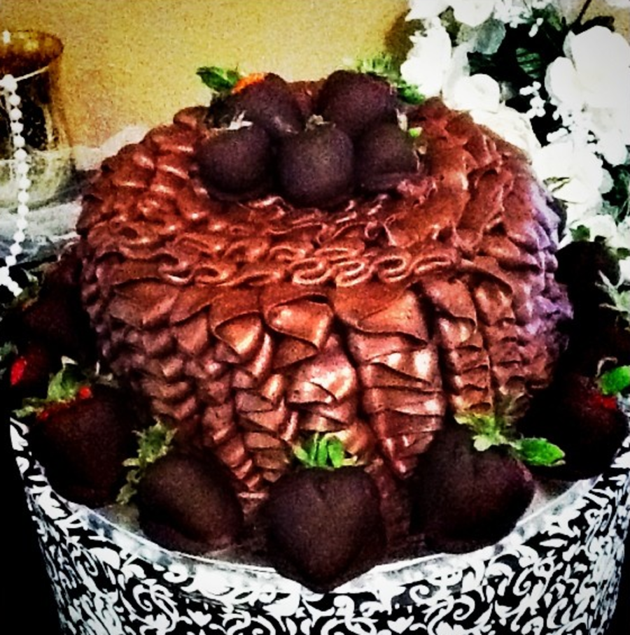 Chocolate Ruffle Groom's Cake With Chocolate Covered Strawberries on Cake Central