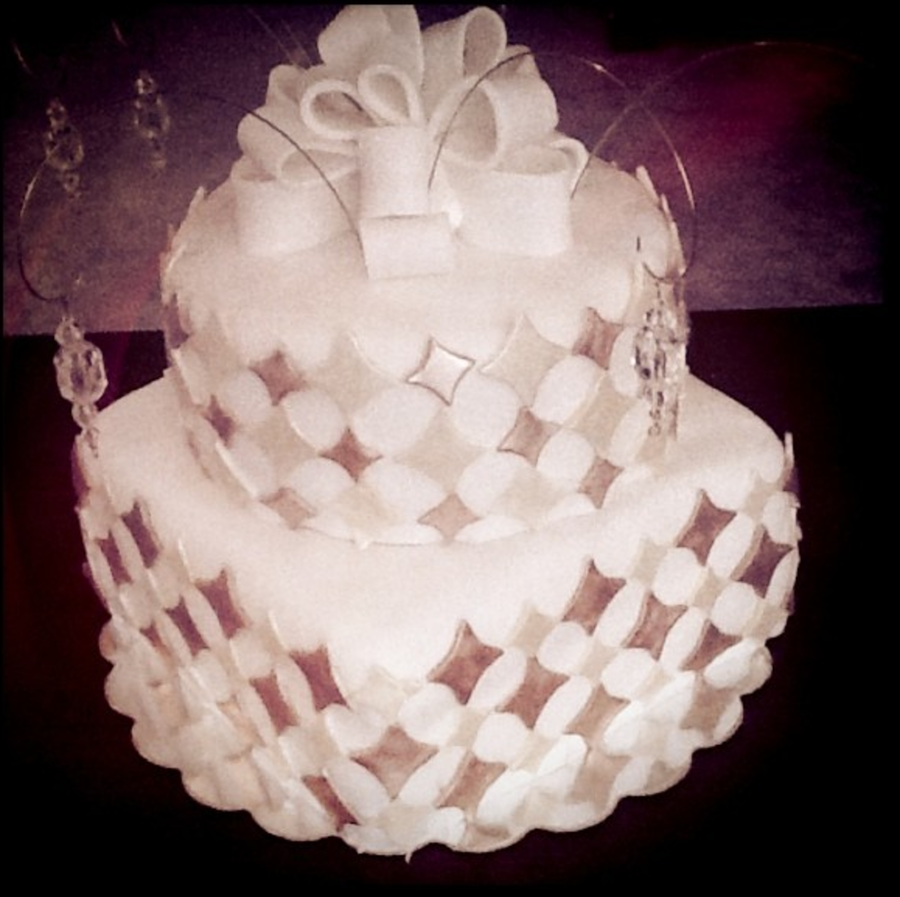 Gold Diamond Cake With Bow And Hanging Jewels Cakecentral