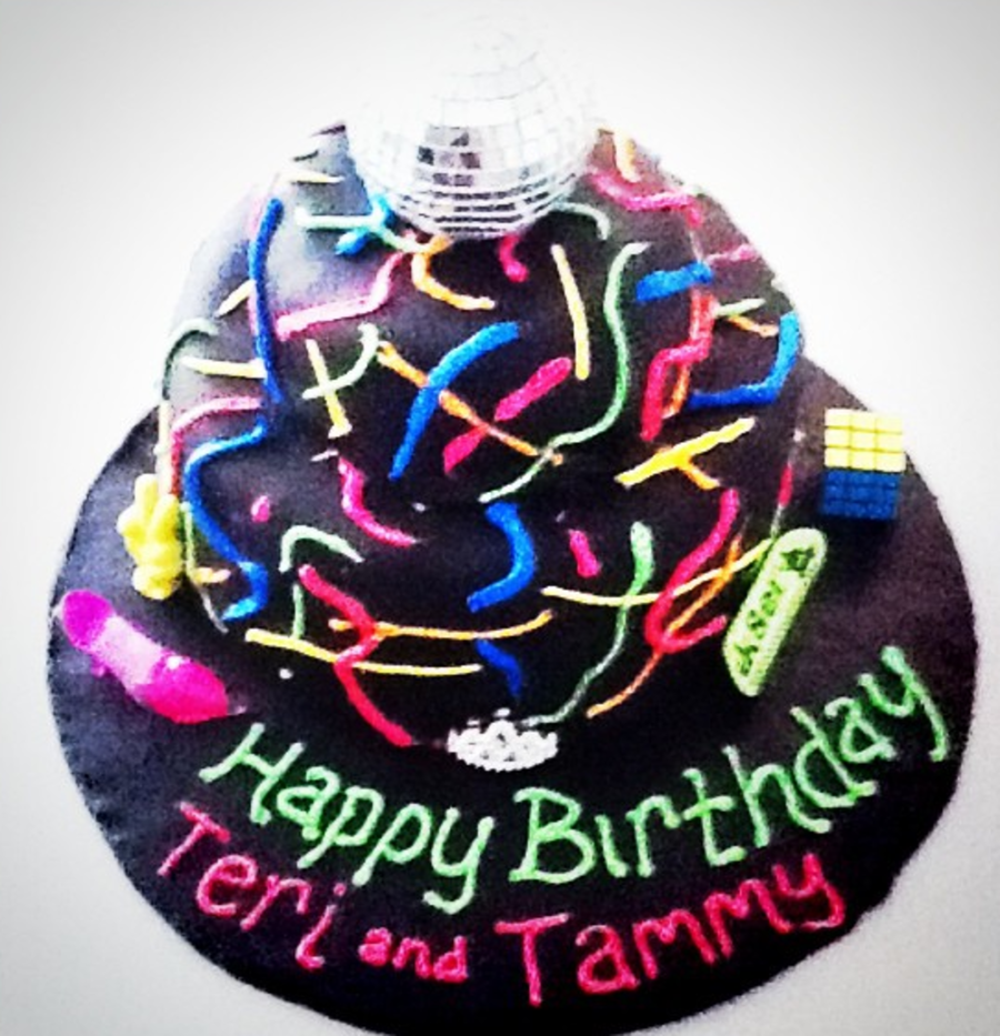 Graffiti Cake With Disco Ball Topper on Cake Central