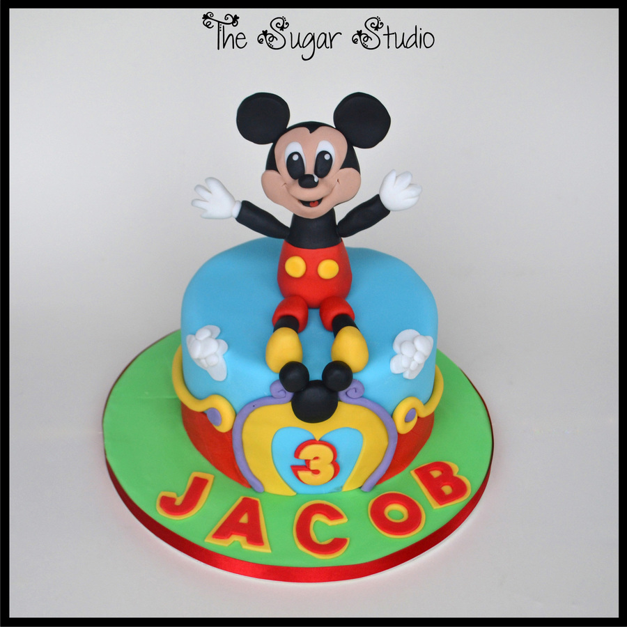 Mickey Mouse Clubhouse Cake With Handmade Cake Topper Cakecentralcom