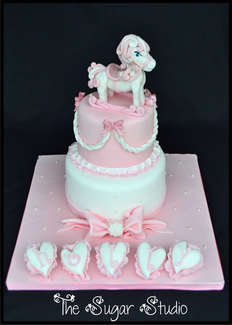 Baby Girls Pink 2 Tier Christening Cake With Handmade