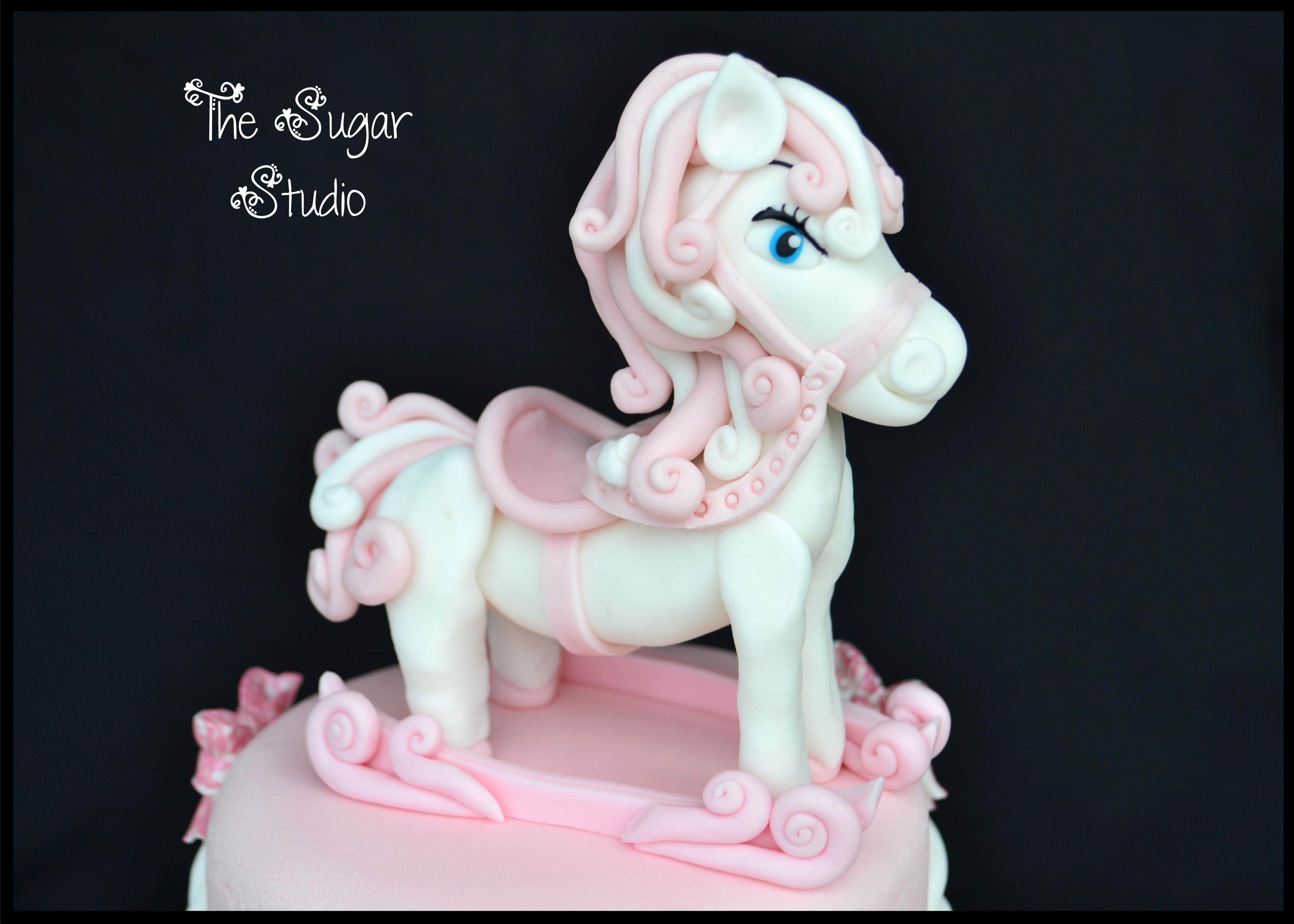 Cake Decorating Animal Figures Baby Girls Pink 2 Tier Christening Cake With Handmade Rocking
