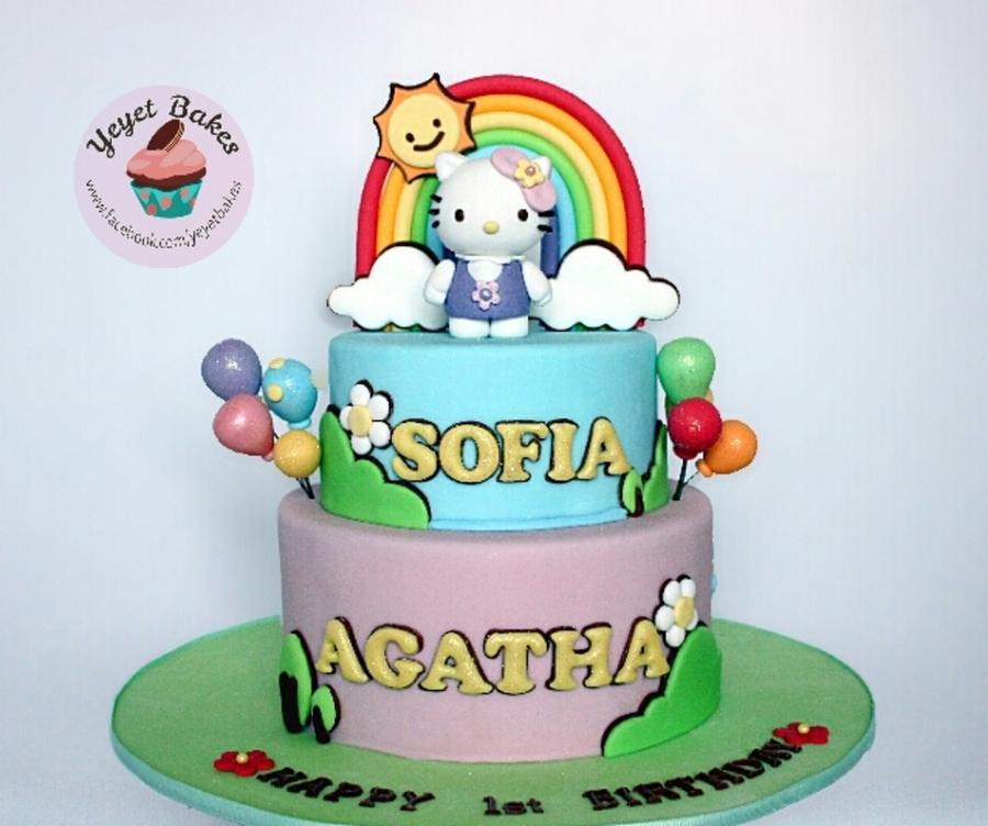 Outstanding Hello Kitty Garden Theme 1St Birthday Cake Cakecentral Com Personalised Birthday Cards Veneteletsinfo
