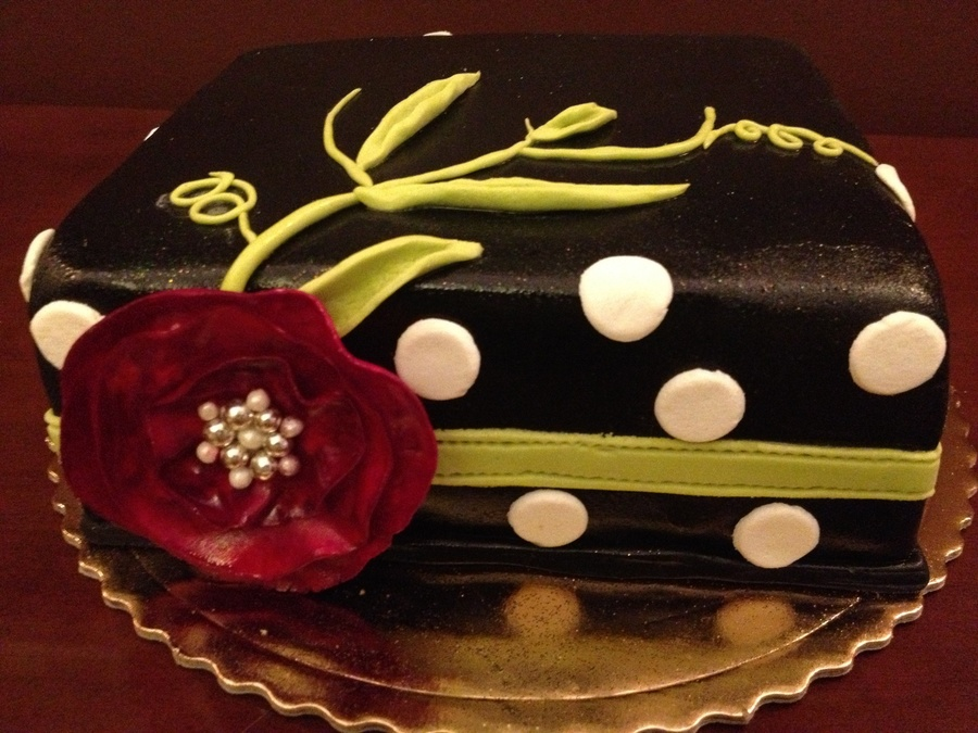 Black Square Cake With Pink Flower on Cake Central