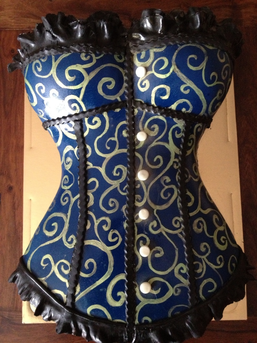 Corset Cake Navy-Blue  on Cake Central