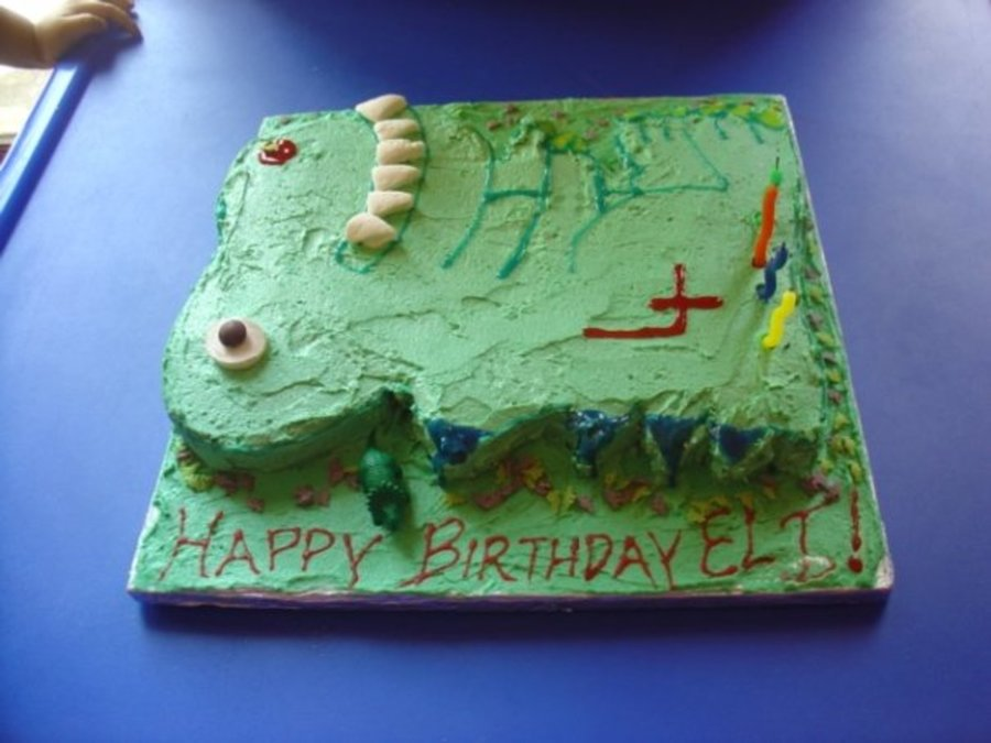 Dinosaur Cake Recipes Pictures : Green T-Rex Dinosaur Birthday Cake - CakeCentral.com