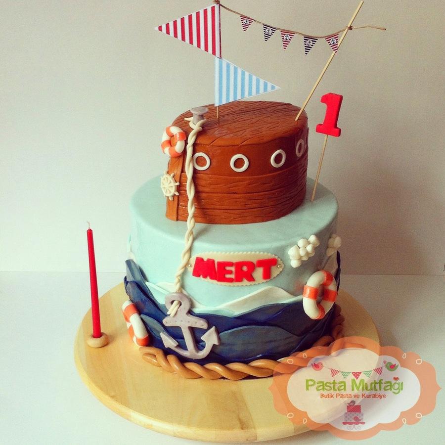 Nautical Themed 1St Birthday Cake Chocolate Strawberry And