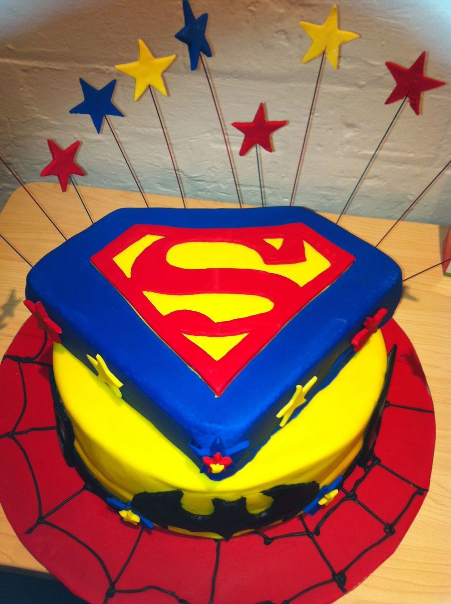 This Is The First Time I Worked With Fondant The Batman And The Superman Logo Were All Done By Hand The Spider Web Left A Lot To Be D on Cake Central