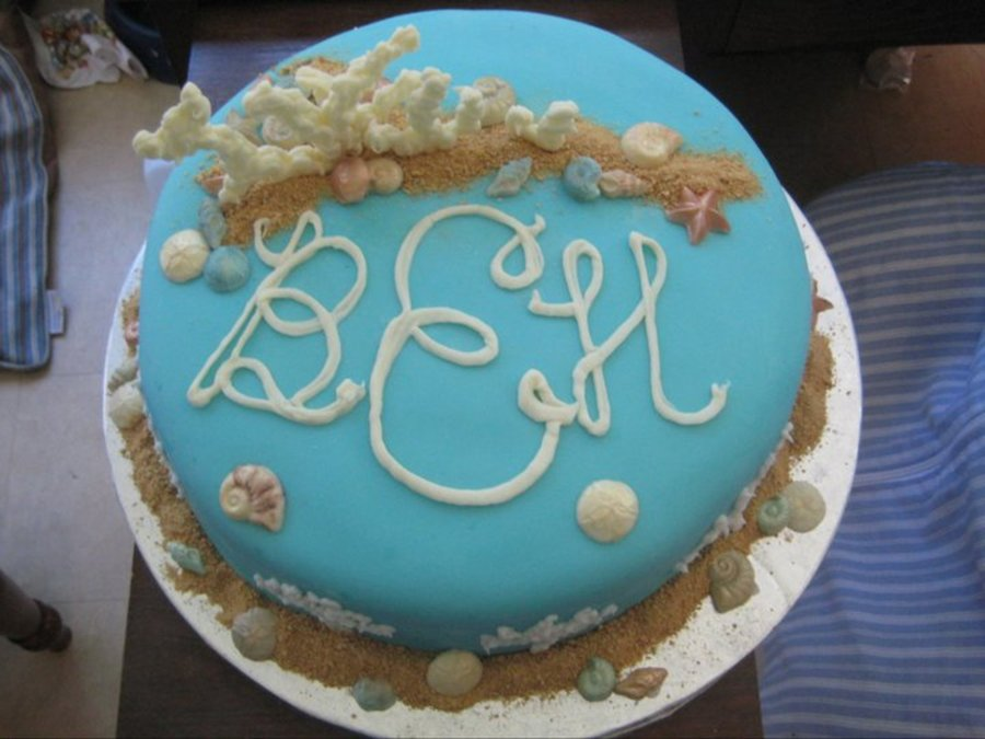Pound Cake Marshmallow Fondant White Chocolate Seashells Coral And Letters Graham Cracker Sand on Cake Central