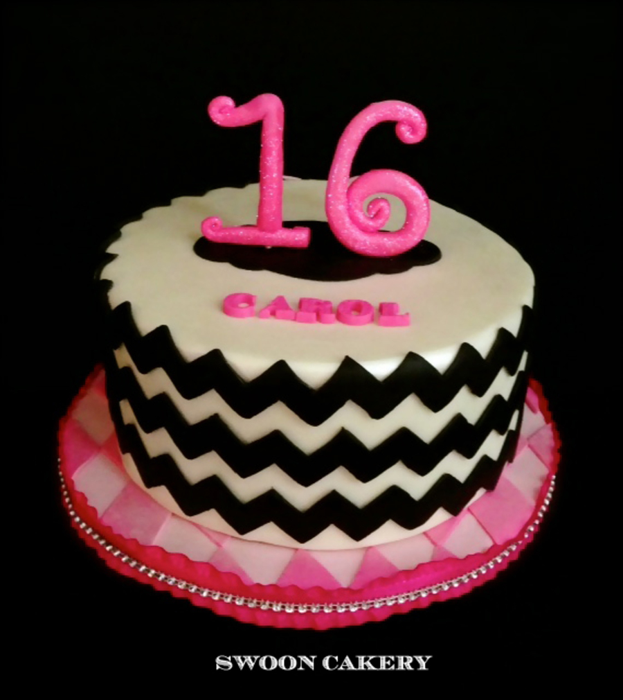 Sweet 16 Birthday Cake Black Amp White Chevron With 2 Tone Pink