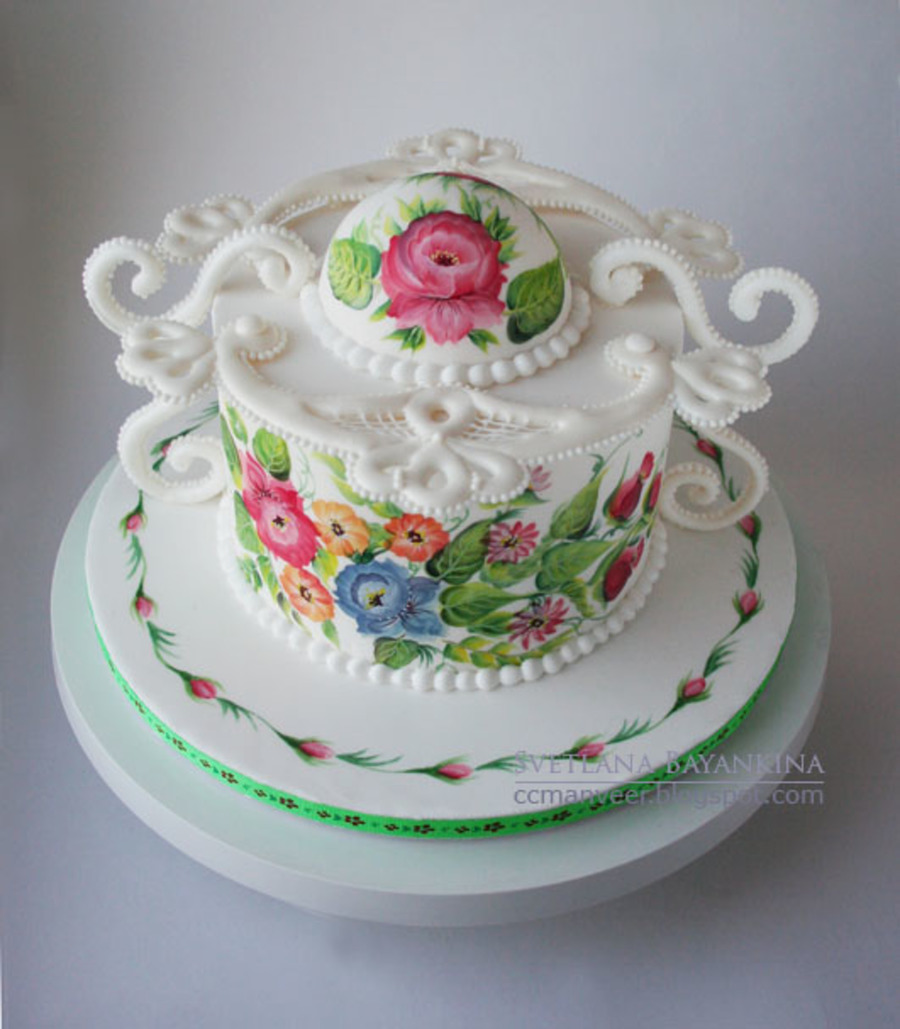 Russian Style Painted Cake - CakeCentral.com