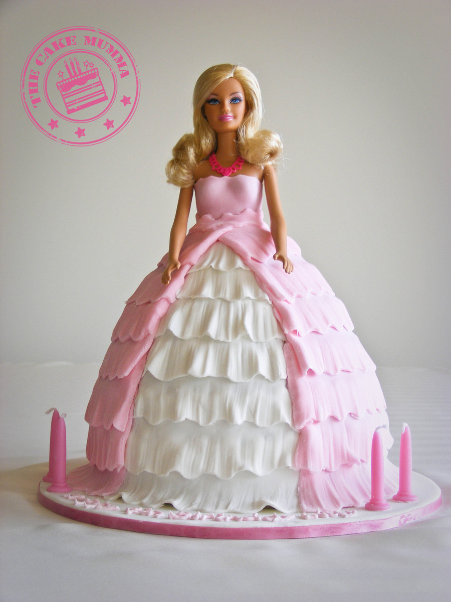 A Gorgeous Birthday Cake For 4 Year Old Girl Barbie Is Chocolate Filled With Ganache And Covered In Fondant