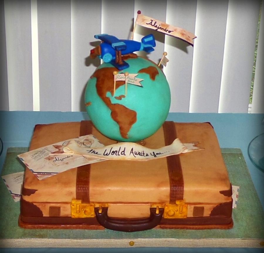 Suitcase Globe Cake