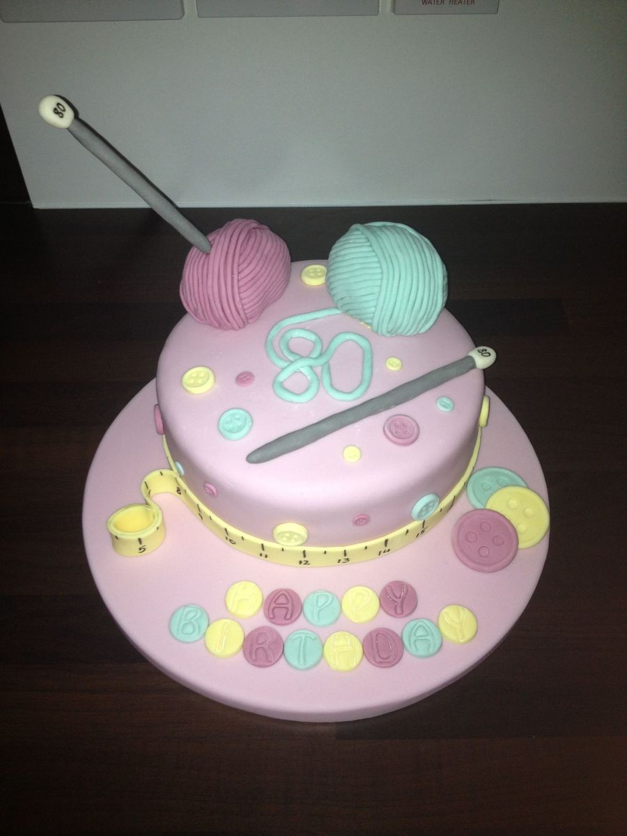 80th Knitting Birthday Cake Cakecentral