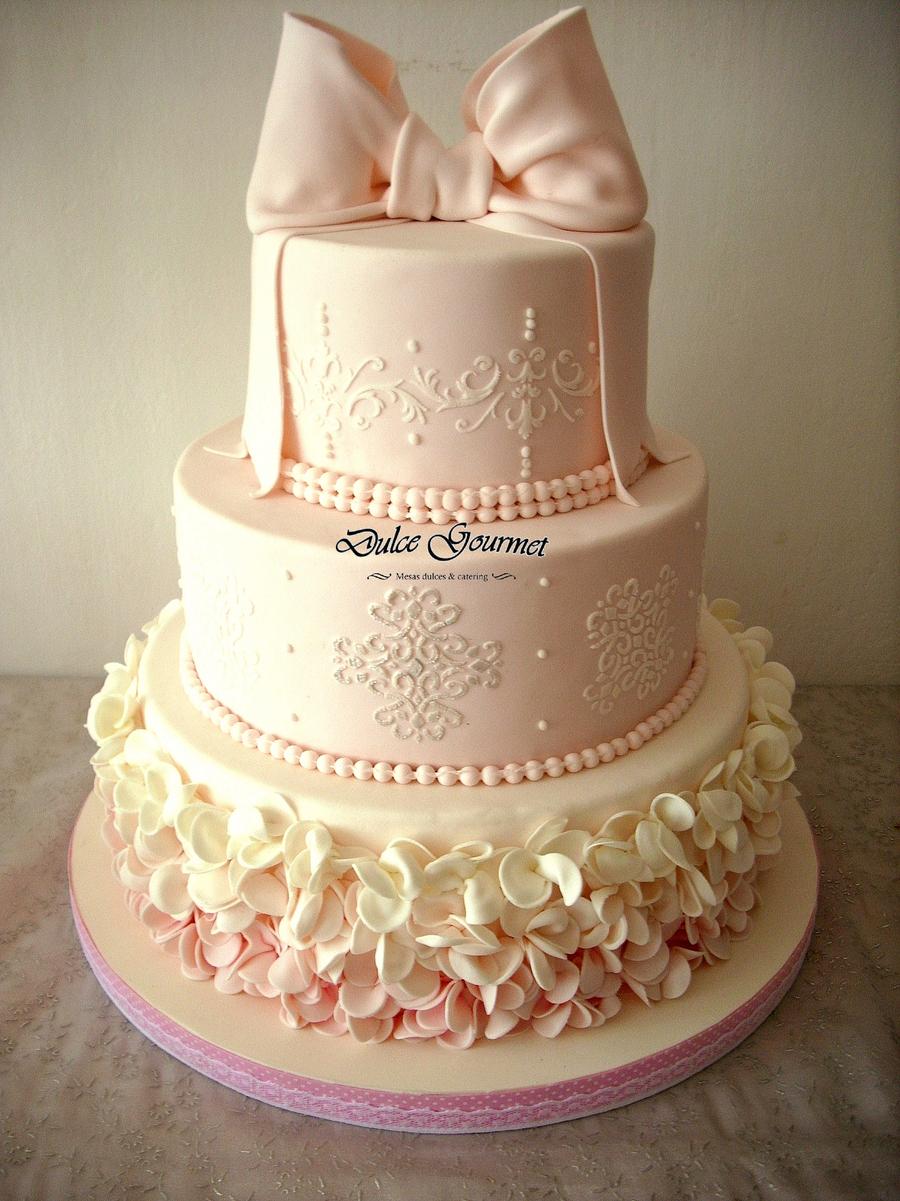 Pink Ombre Baptism Cake CakeCentralcom