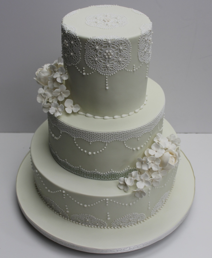 Cake With Fondant Lace : Cake Covered In Fondant With Gumpaste Flowers I Used ...