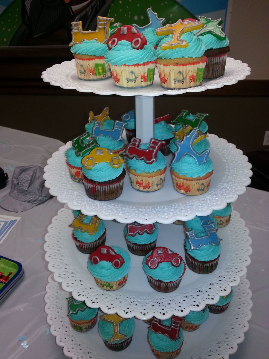 Planes Trains And Automobiles Cupcakes For Boy Baby Shower on Cake Central