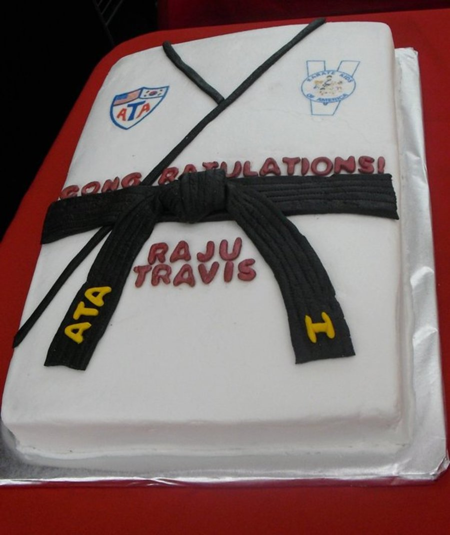 Ata Black Belt Cake I Make This Cake Every Testing Cycle For Our Karate School To Celebrate When Someone Receives Their Black Belt on Cake Central