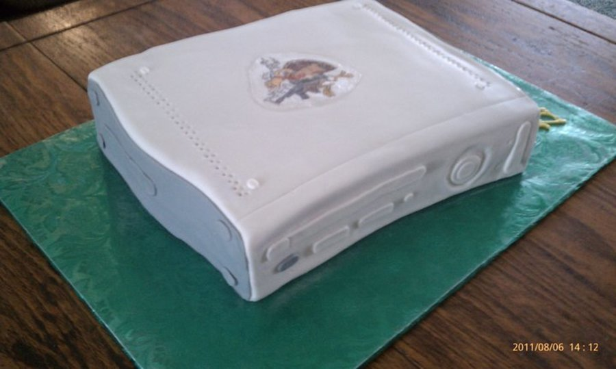 My 1St Xbox Cake With An Edible Picture On Top To Match The Birthday Boys Sticker On His Xbox on Cake Central