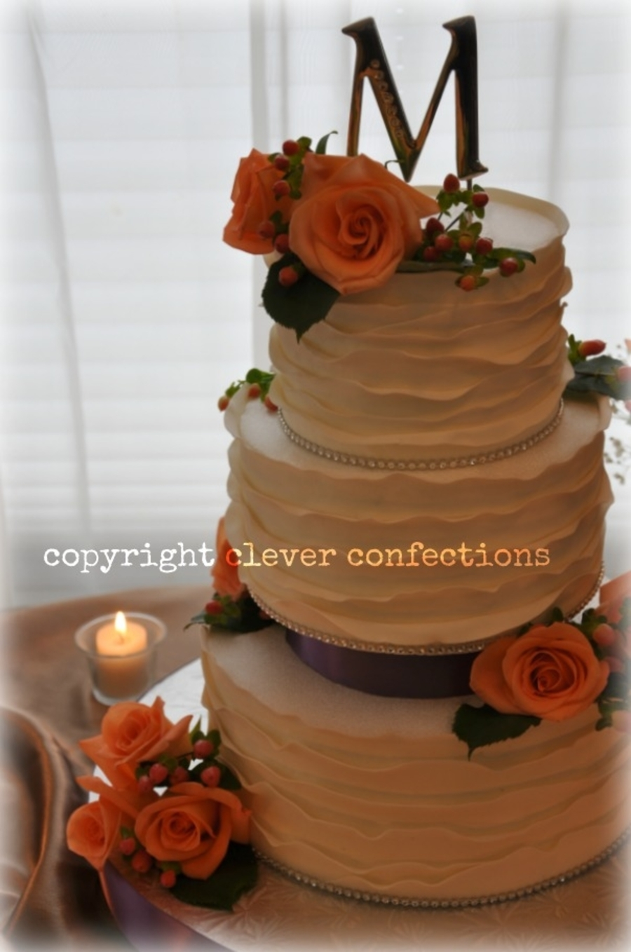 peach wedding cake gallery roses berries and fondant wrap wedding cake 18146